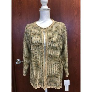 Alfred Dunner Petite Taupe Cardigan Sweater PL